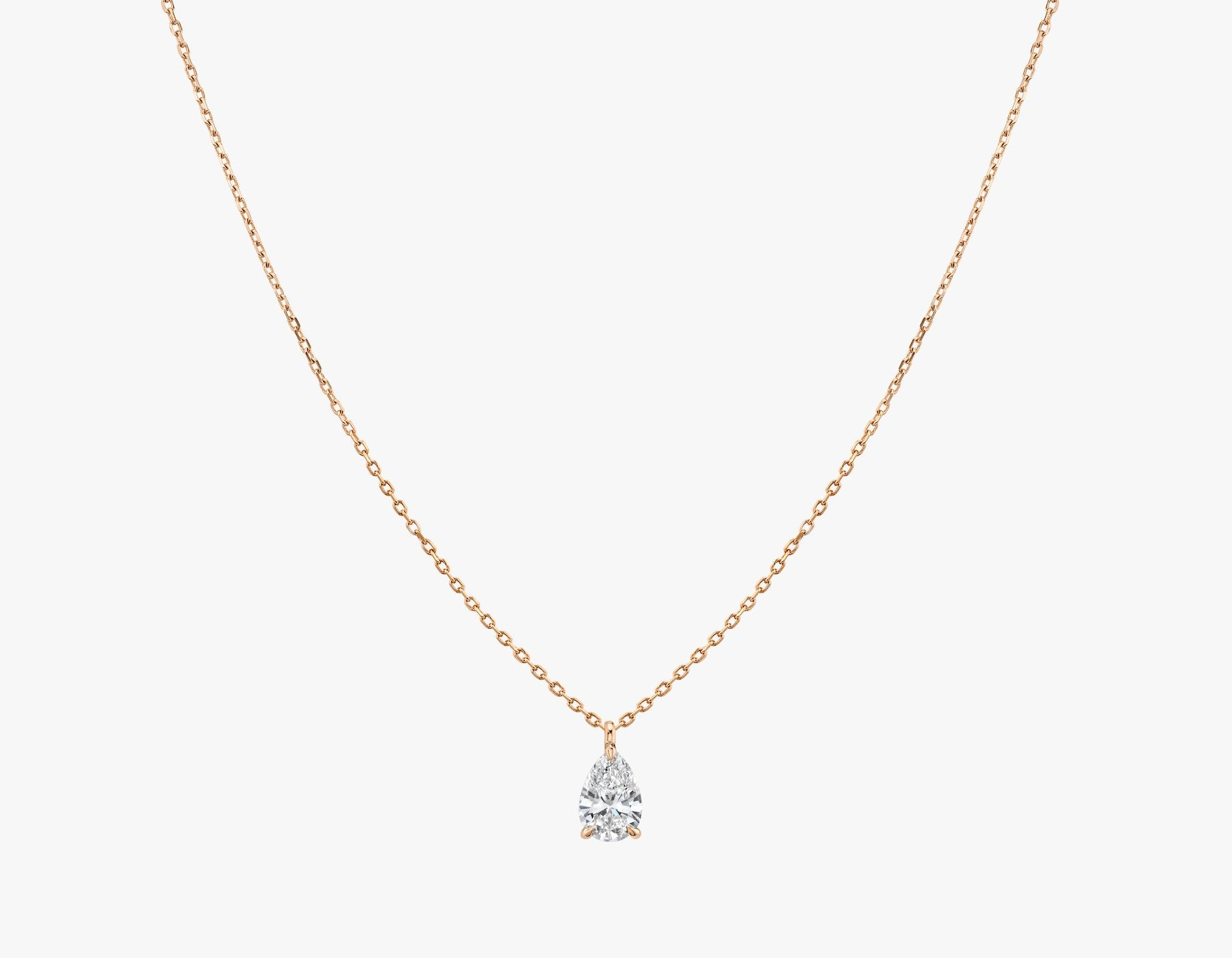 Vrai 14K solid gold solitaire pear diamond pendant necklace 1ct minimalist delicate, 14K Rose Gold