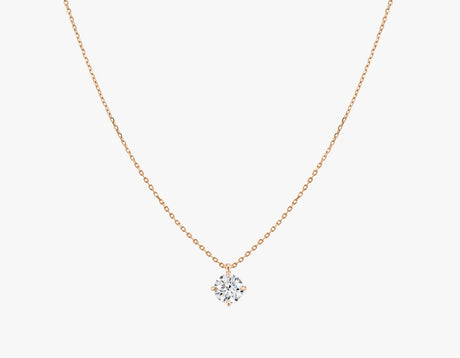 Vrai 14K solid gold solitaire round brilliant diamond pendant necklace 1ct minimalist delicate, 14K Rose Gold