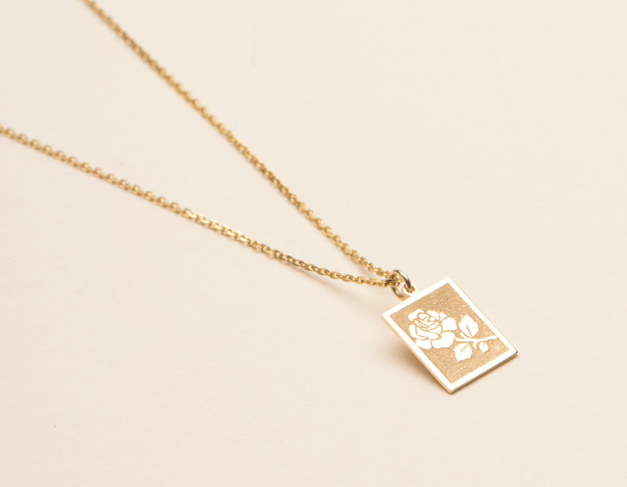 Vrai & Oro simple elegant Rose Pendant Necklace 14k yellow gold pendant on dainty chain