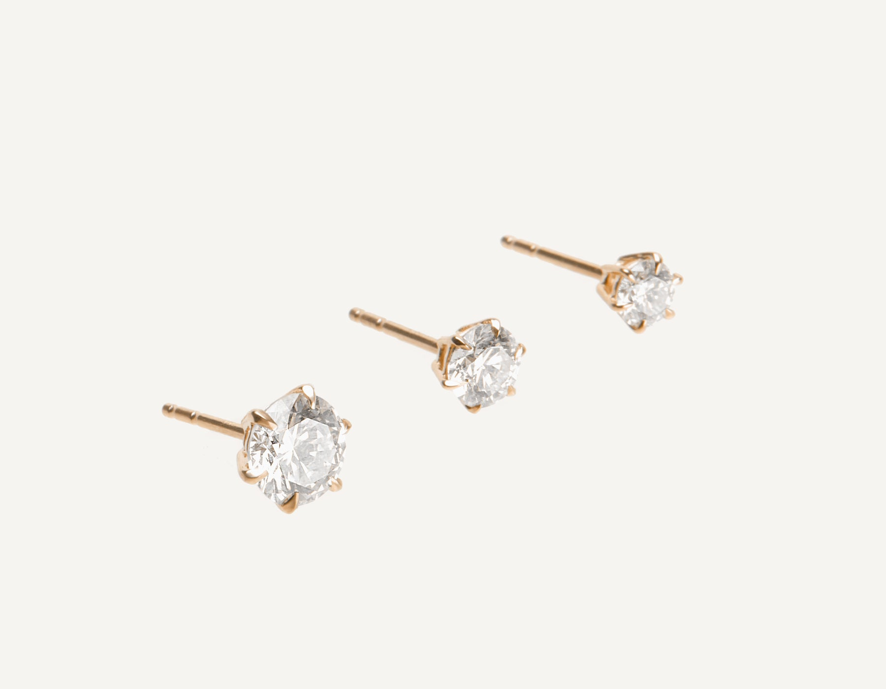 Vrai & Oro 18K Solid Gold Round Brilliant Diamond Earring Post 1 ct .50 ct .25 ct, 18K Rose Gold