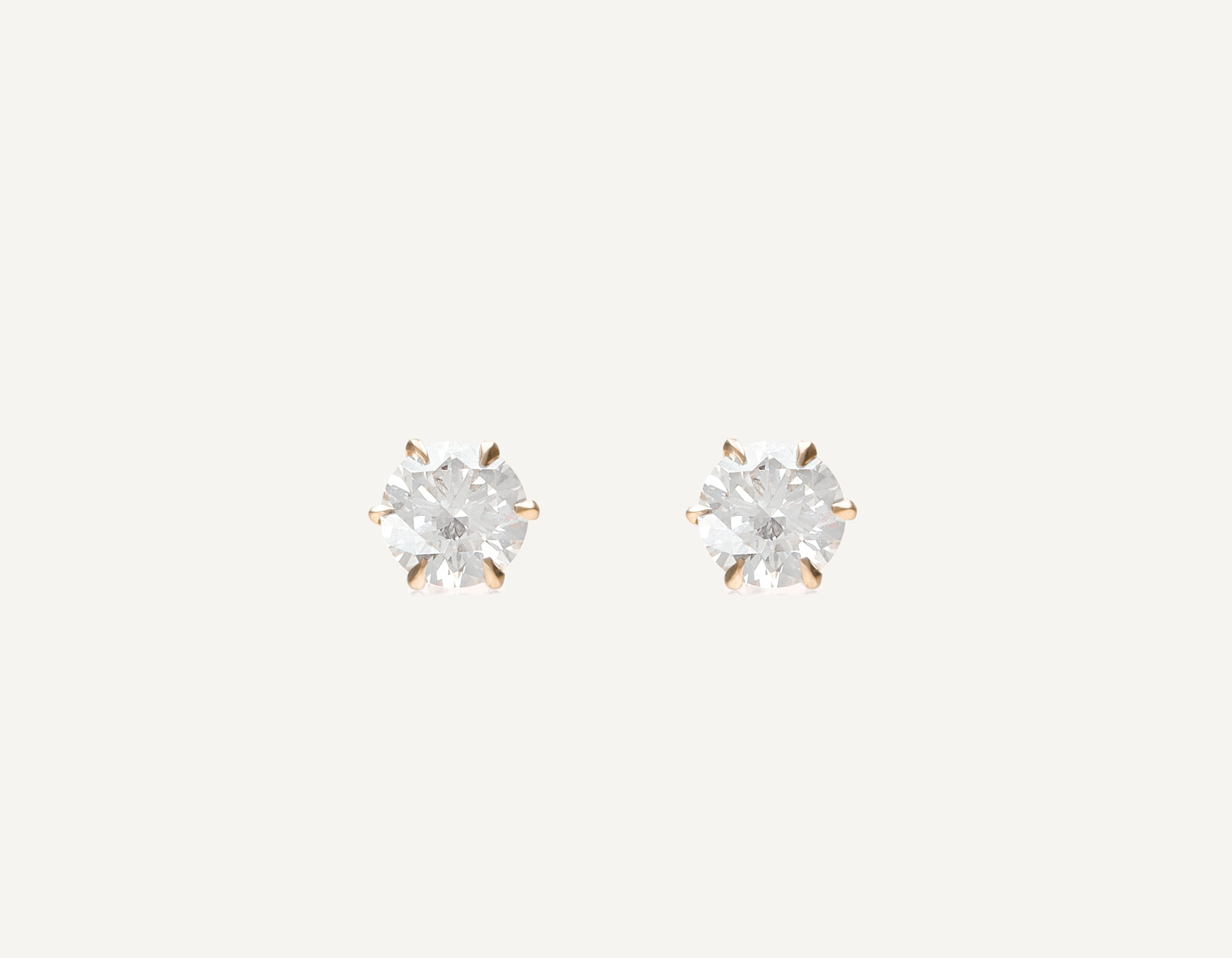 simple classic 18k solid gold 1.0 ct Round Brilliant Diamond Studs earring by Vrai and Oro, 18K Rose Gold