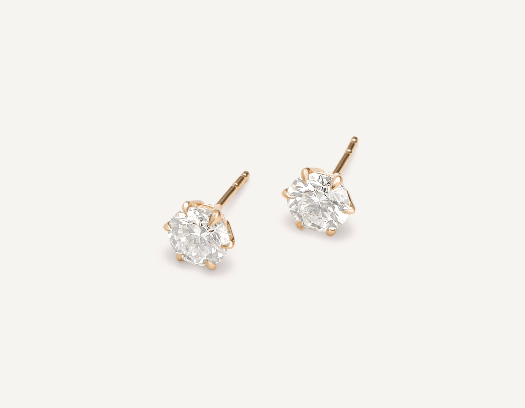 modern minimalist 18k solid gold 1.0 ct Round Brilliant Studs diamond earrings by Vrai & Oro, 18K Rose Gold