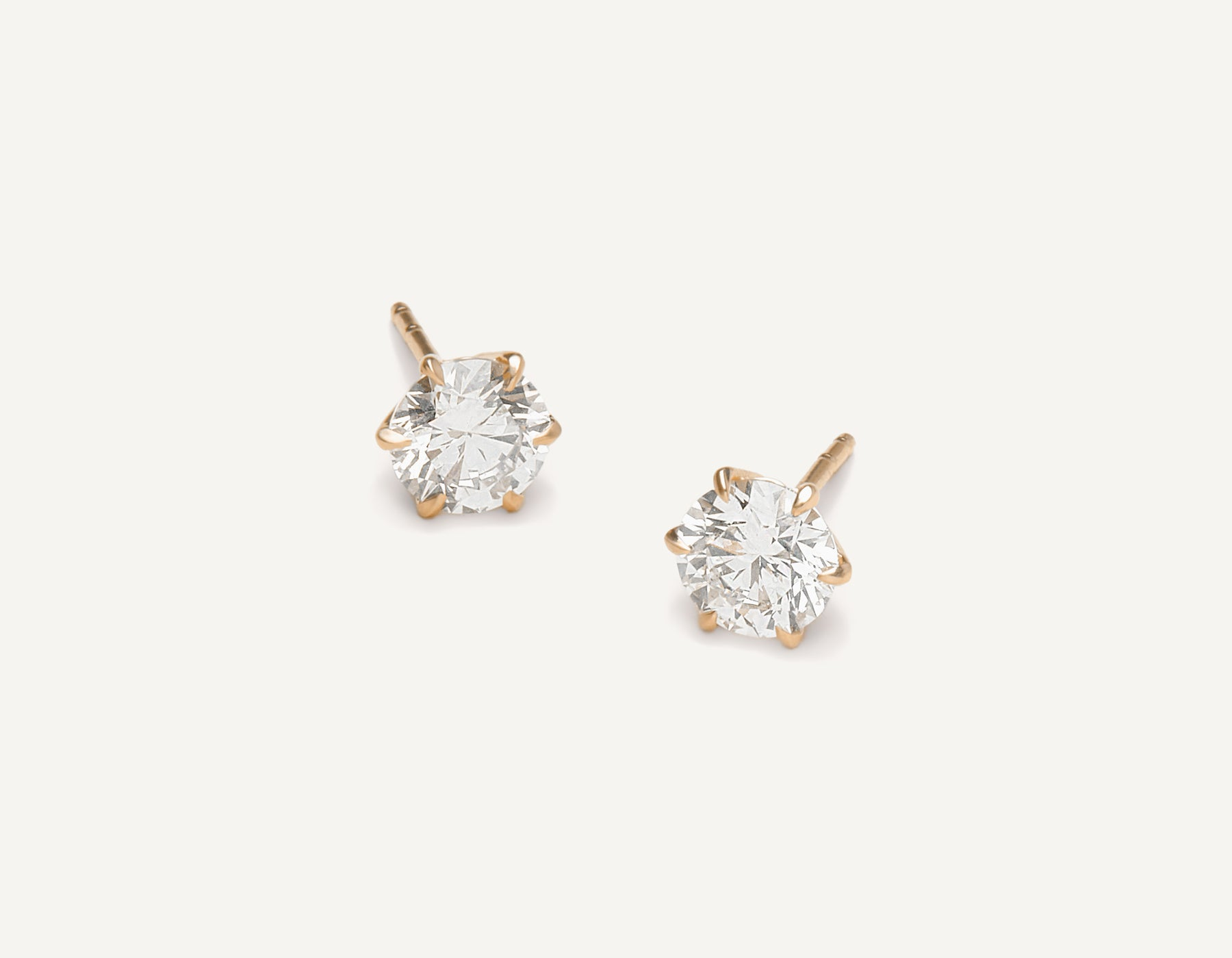 Vrai & oro 1.0 carat Round Brilliant Diamond stud earring 18k solid gold simple modern, 18K Rose Gold