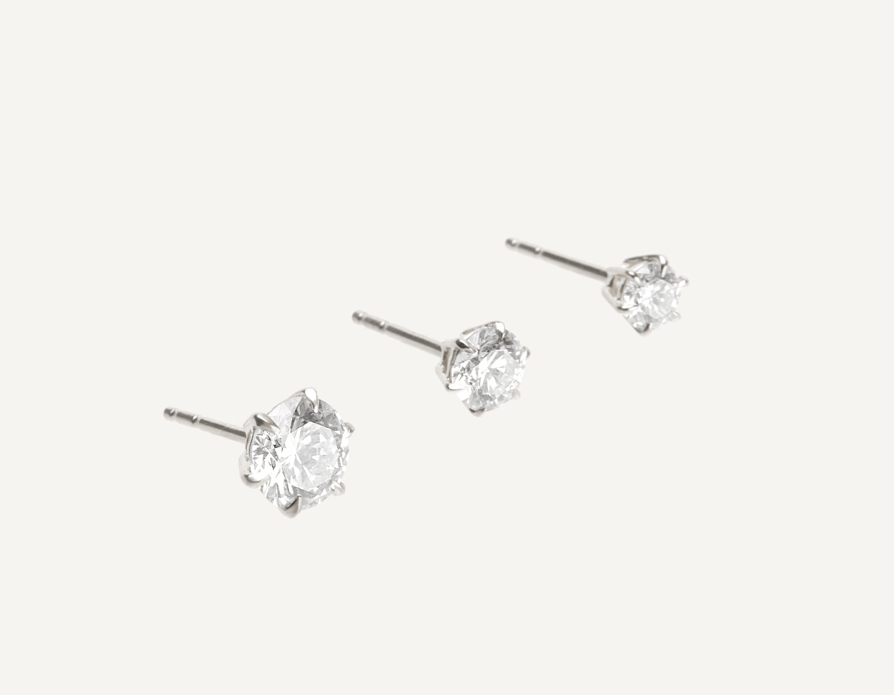 Vrai & Oro 18K Solid Gold Round Brilliant Diamond Earring Post 1 ct .50 ct .25 ct, 18K White Gold