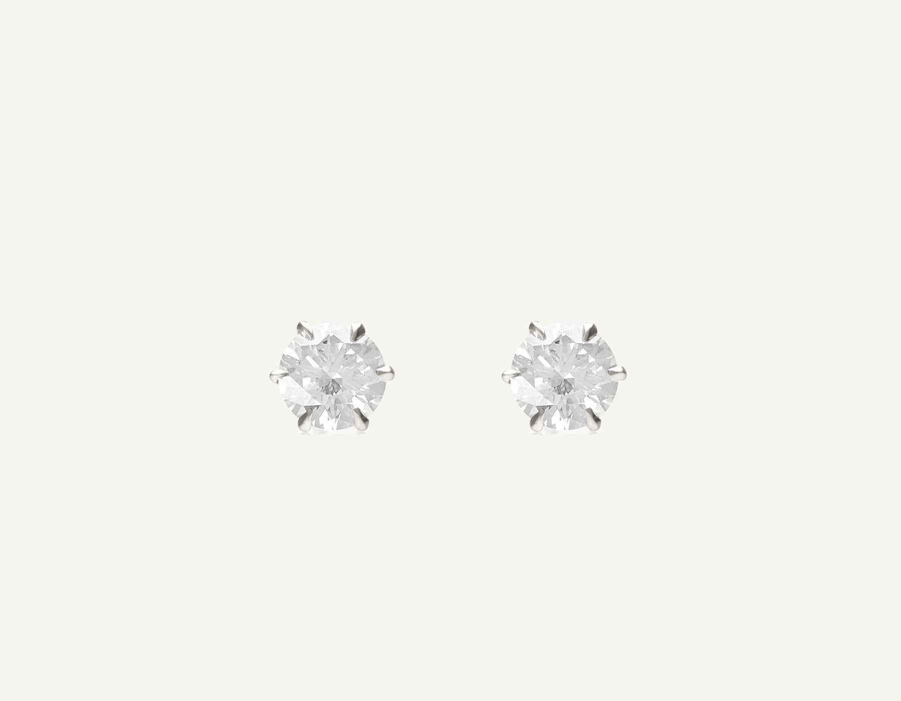 simple classic 18k solid gold 1.0 ct Round Brilliant Diamond Studs earring by Vrai and Oro, 18K White Gold
