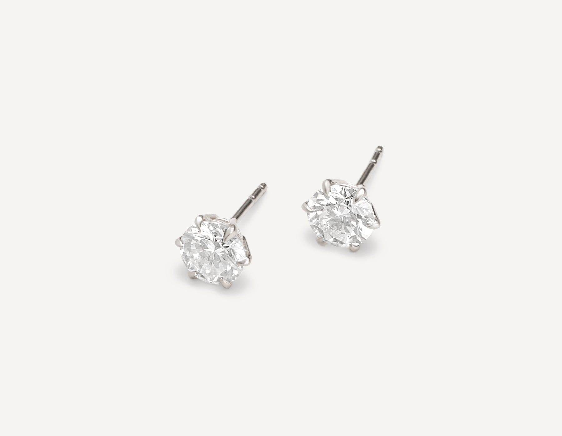 modern minimalist 18k solid gold 1.0 ct Round Brilliant Studs diamond earrings by Vrai & Oro, 18K White Gold