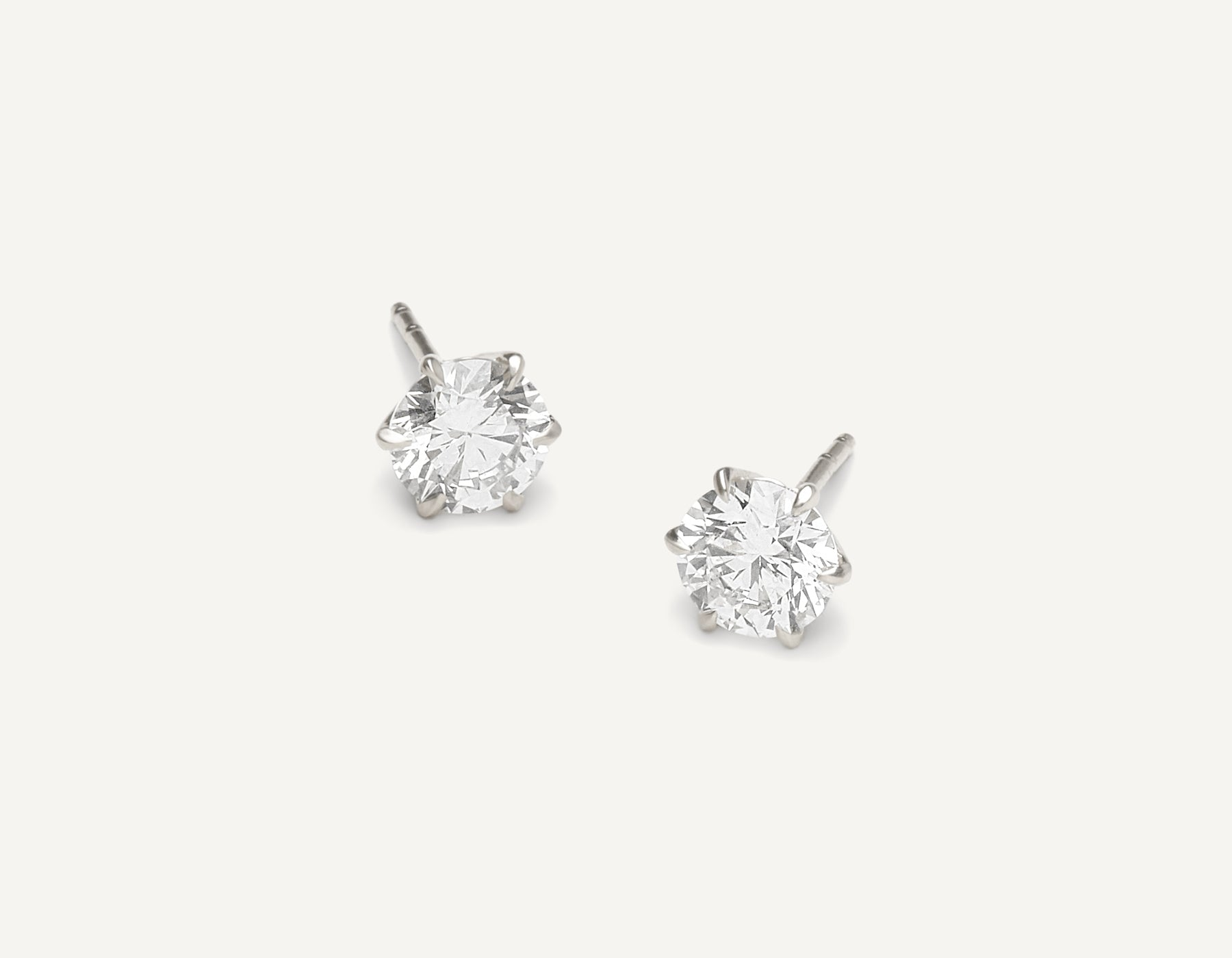 Vrai & oro 1.0 carat Round Brilliant Diamond stud earring 18k solid gold simple modern, 18K White Gold