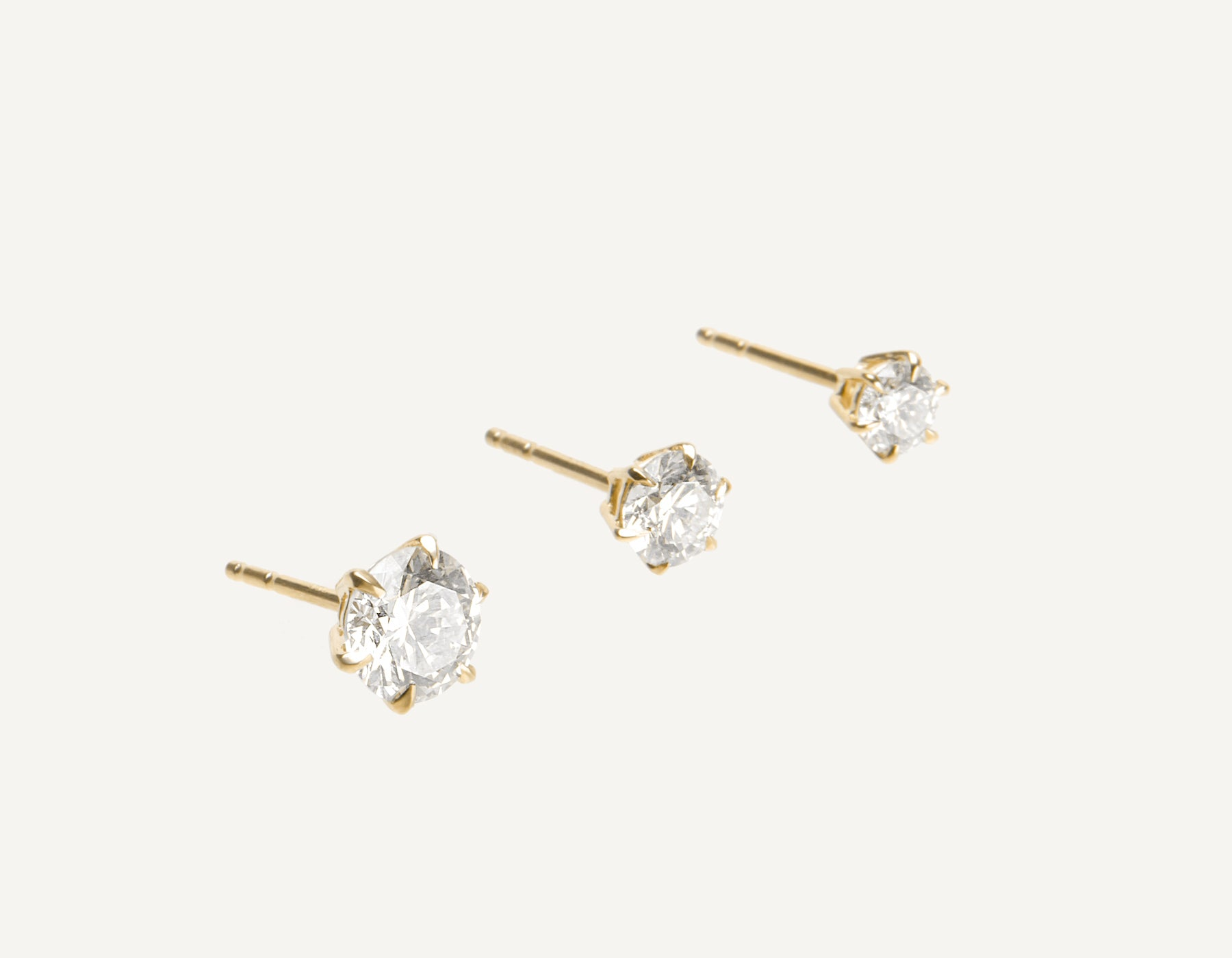 Vrai & Oro 18K Solid Gold Round Brilliant Diamond Earring Post 1 ct .50 ct .25 ct, 18K Yellow Gold