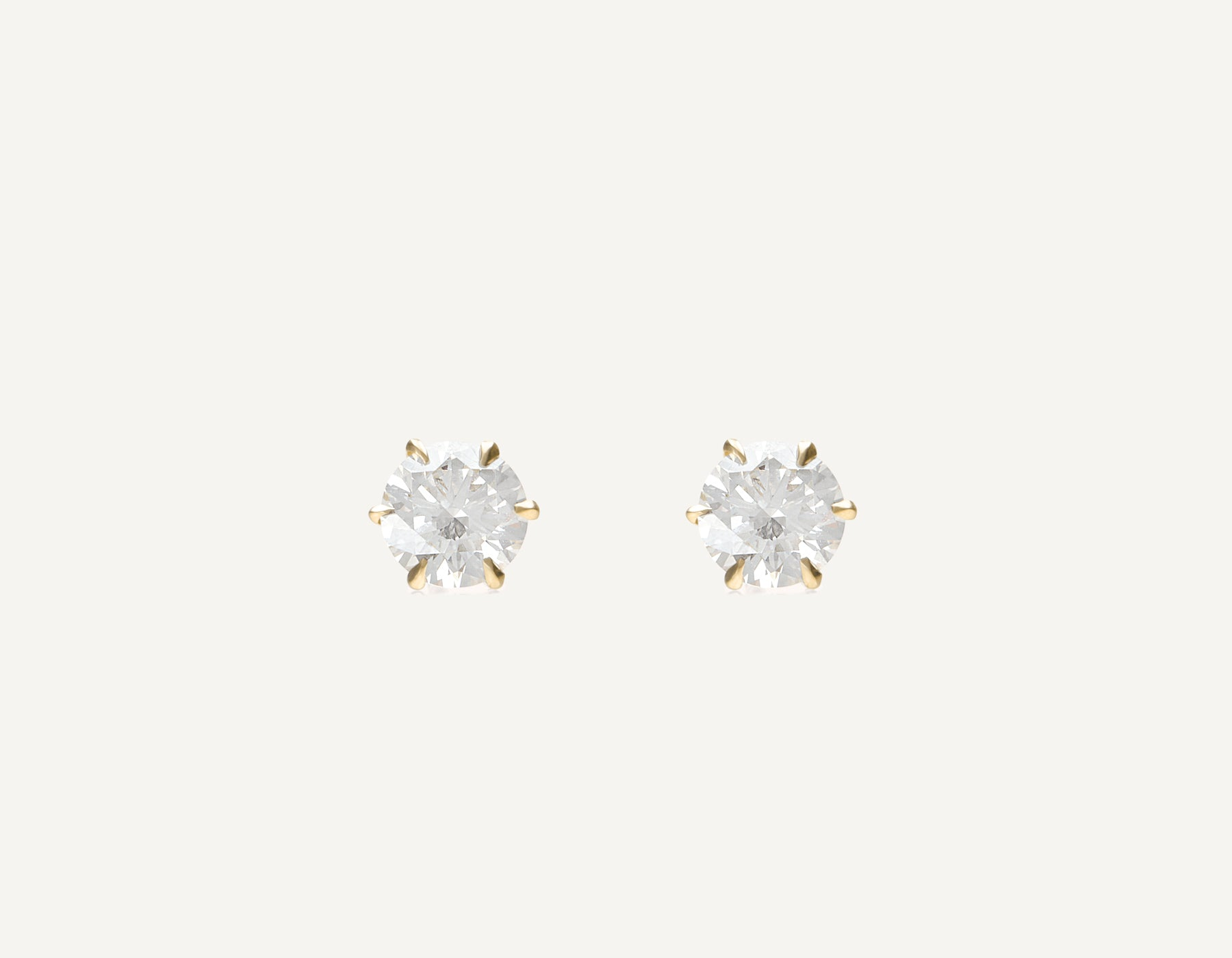 simple classic 18k solid gold 1.0 ct Round Brilliant Diamond Studs earring by Vrai and Oro, 18K Yellow Gold