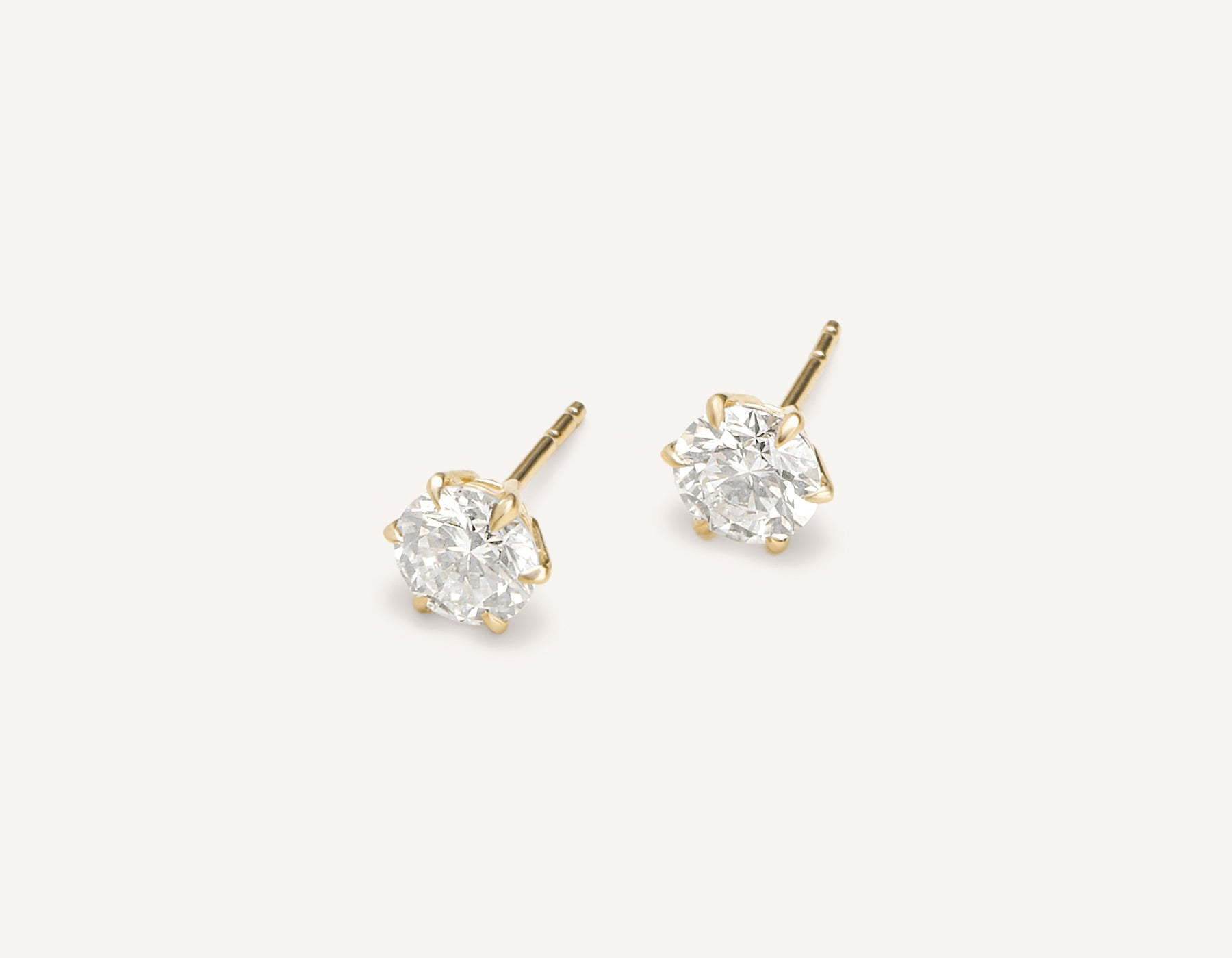 modern minimalist 18k solid gold 1.0 ct Round Brilliant Studs diamond earrings by Vrai & Oro, 18K Yellow Gold