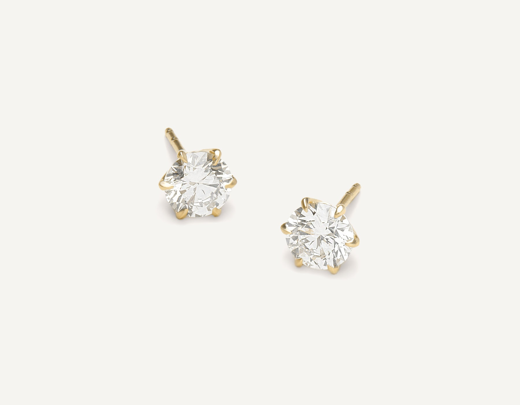 Vrai & oro 1.0 carat Round Brilliant Diamond stud earring 18k solid gold simple modern, 18K Yellow Gold