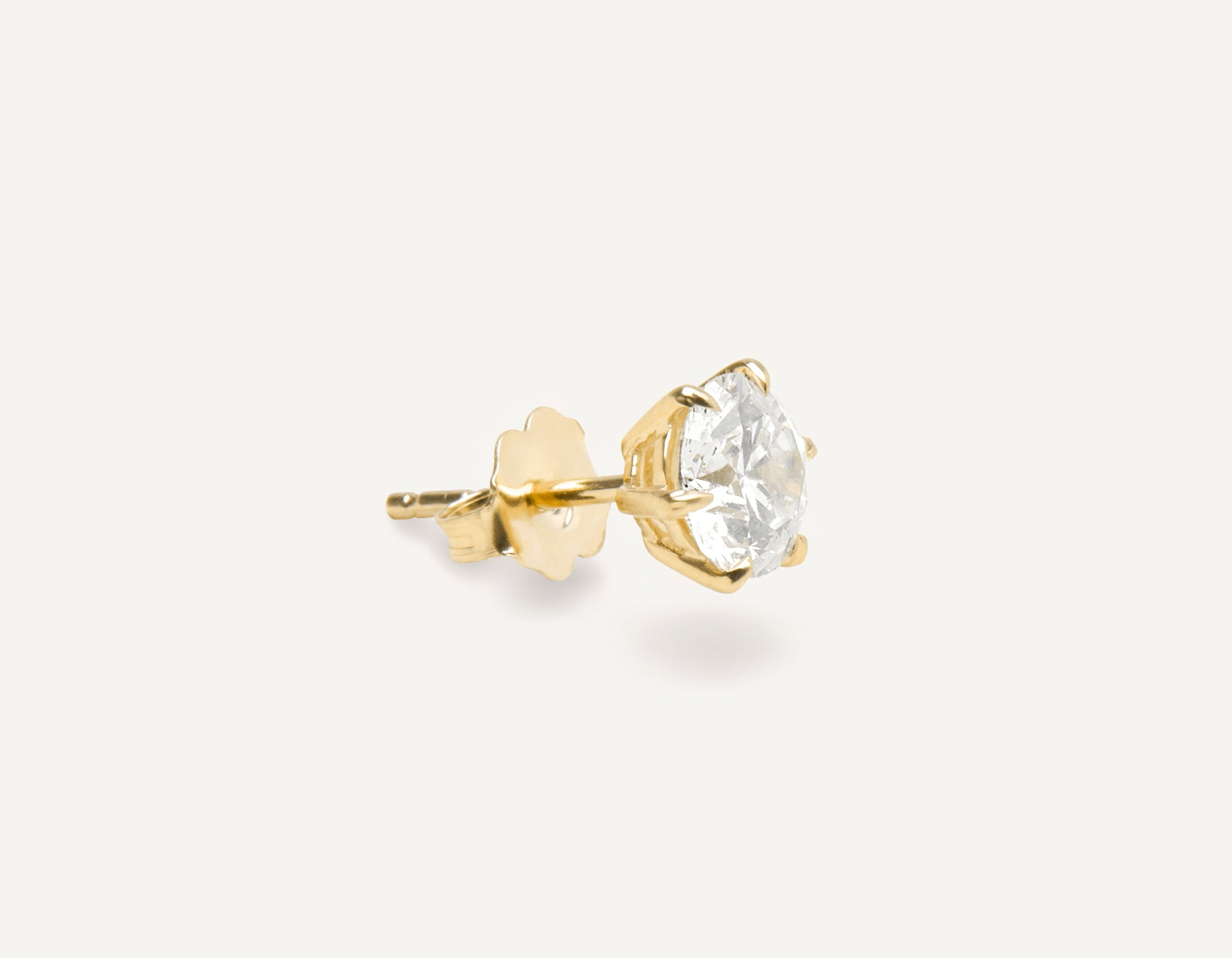 Vrai and oro 1.0 ct Round Brilliant Diamond earring 18k Solid gold classic minimalist, 18K Yellow Gold
