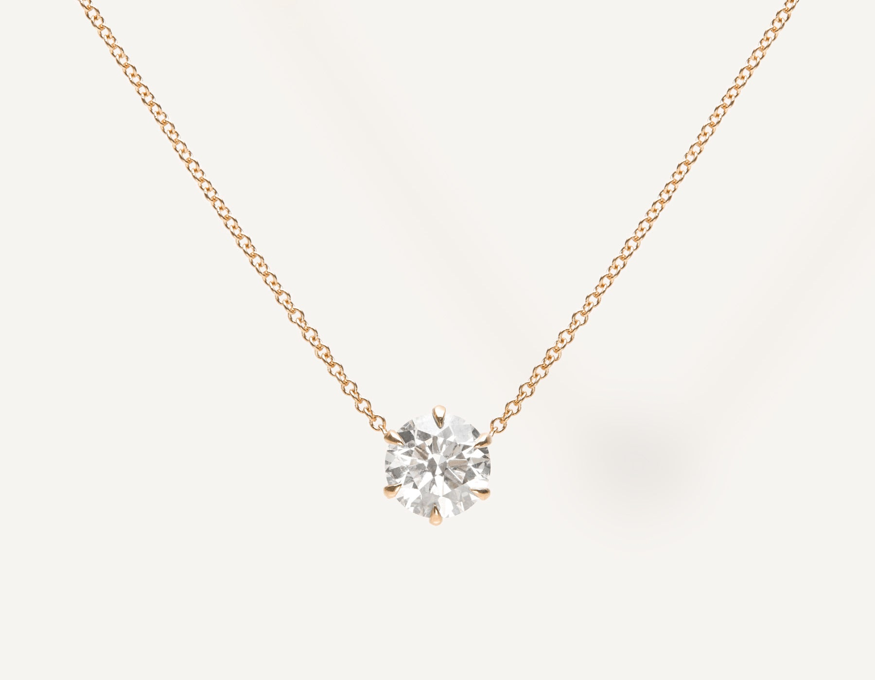 Simple Classic 1.0 ct Round Brilliant Diamond Necklace 18k solid gold oval link chain Vrai & Oro sustainable jewelry, 18K Rose Gold