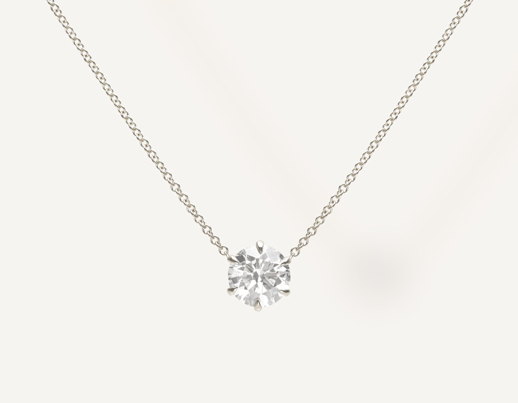 Simple Classic 1.0 ct Round Brilliant Diamond Necklace 18k solid gold oval link chain Vrai & Oro sustainable jewelry, 18K White Gold