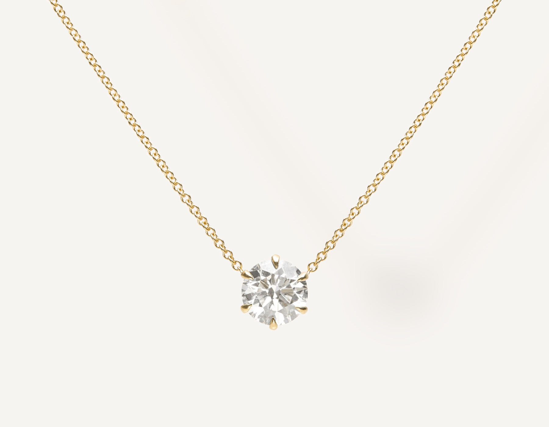 Simple Classic 1.0 ct Round Brilliant Diamond Necklace 18k solid gold oval link chain Vrai & Oro sustainable jewelry, 18K Yellow Gold