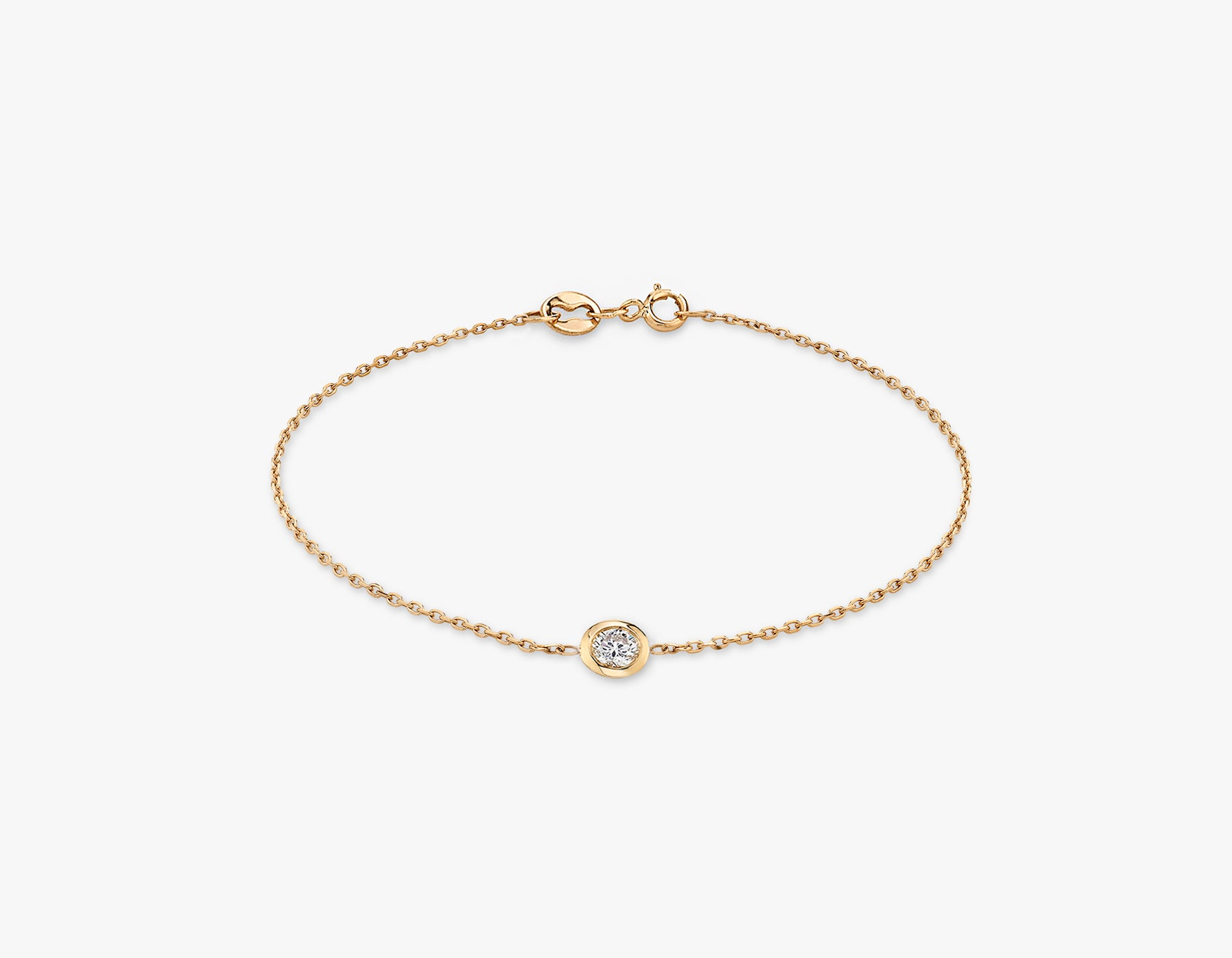 Vrai simple minimalist Round Diamond Bezel Bracelet, 14K Rose Gold