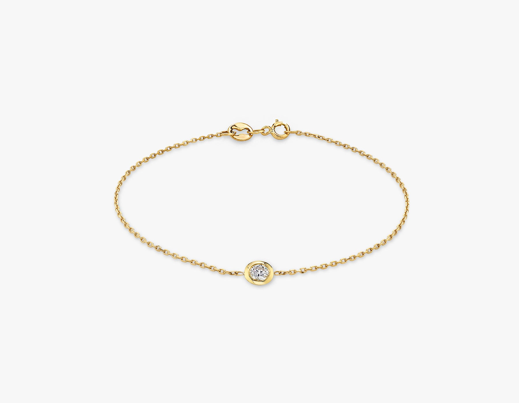 Vrai simple minimalist Round Diamond Bezel Bracelet, 14K Yellow Gold