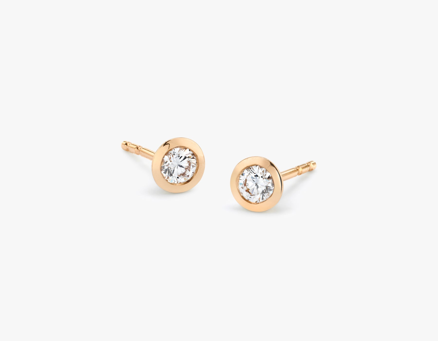 Vrai simple minimalist Round Diamond Bezel Earrings, 14K Rose Gold