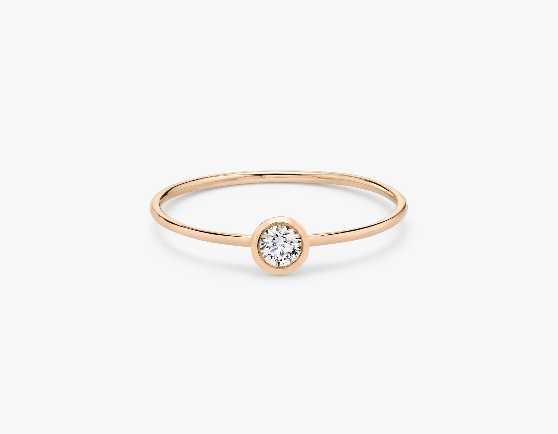 Vrai classic minimalist Round Diamond Bezel Ring, 14K Rose Gold