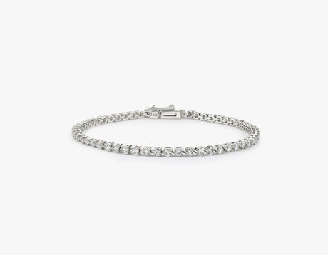 Vrai simple elegant Round Brilliant Diamond Tennis Bracelet with .05ct stone, 14K White Gold