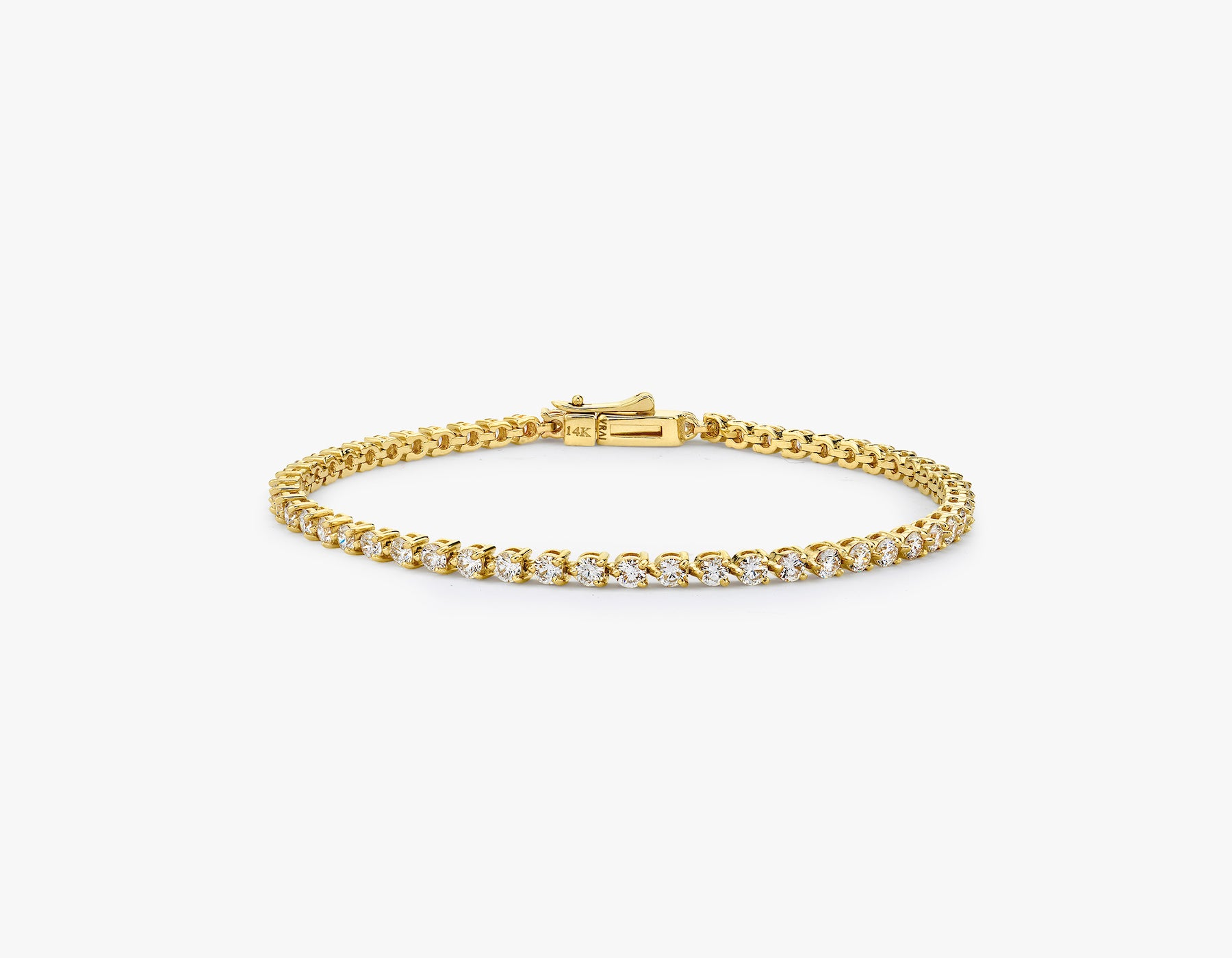 Vrai simple elegant Round Brilliant Diamond Tennis Bracelet with .05ct stone, 14K Yellow Gold