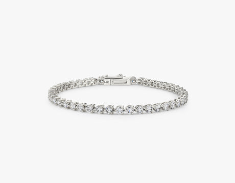Vrai simple elegant Round Brilliant Diamond Tennis Bracelet with .10ct stone, 14K White Gold