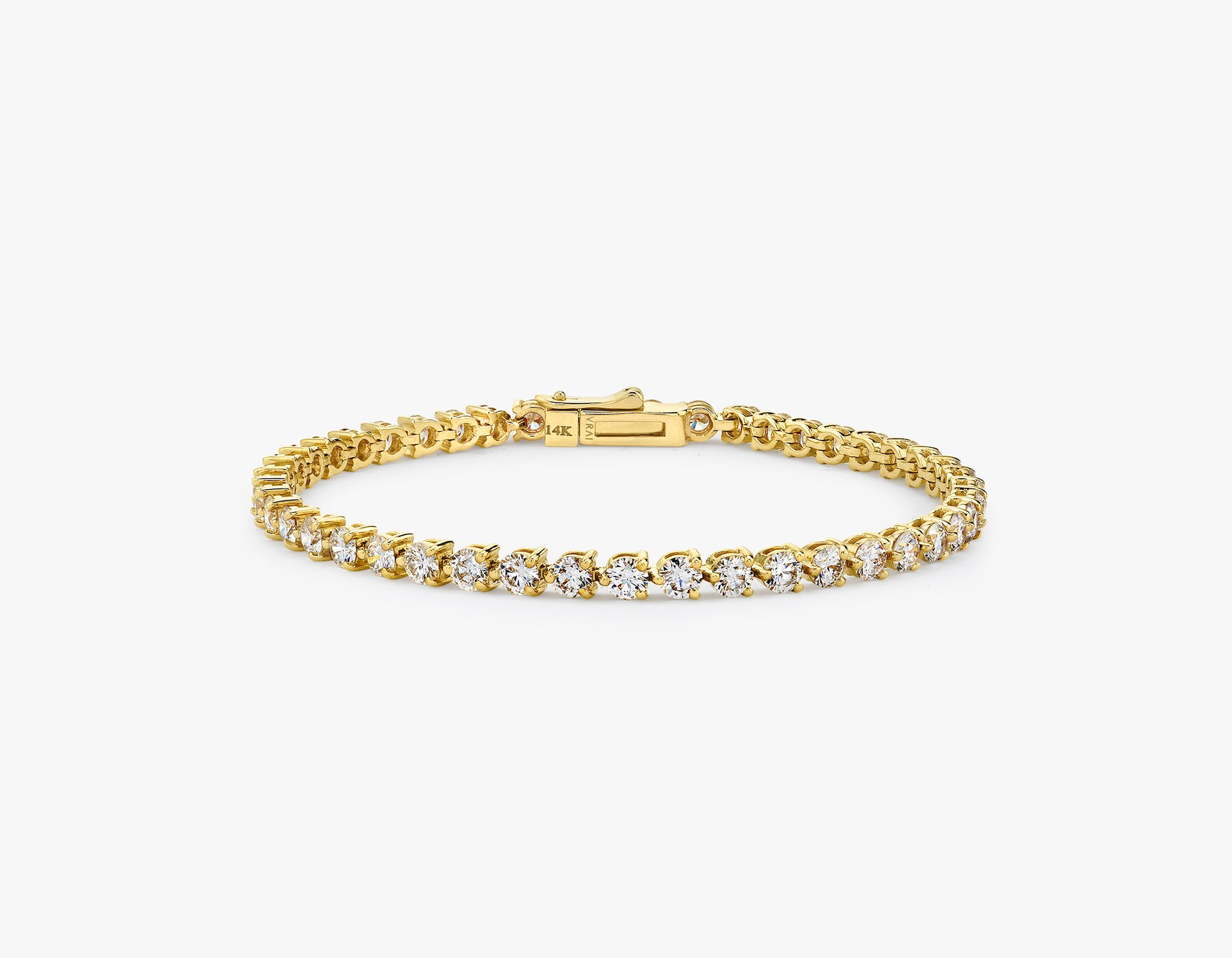 Vrai simple elegant Round Brilliant Diamond Tennis Bracelet with .10ct stone, 14K Yellow Gold