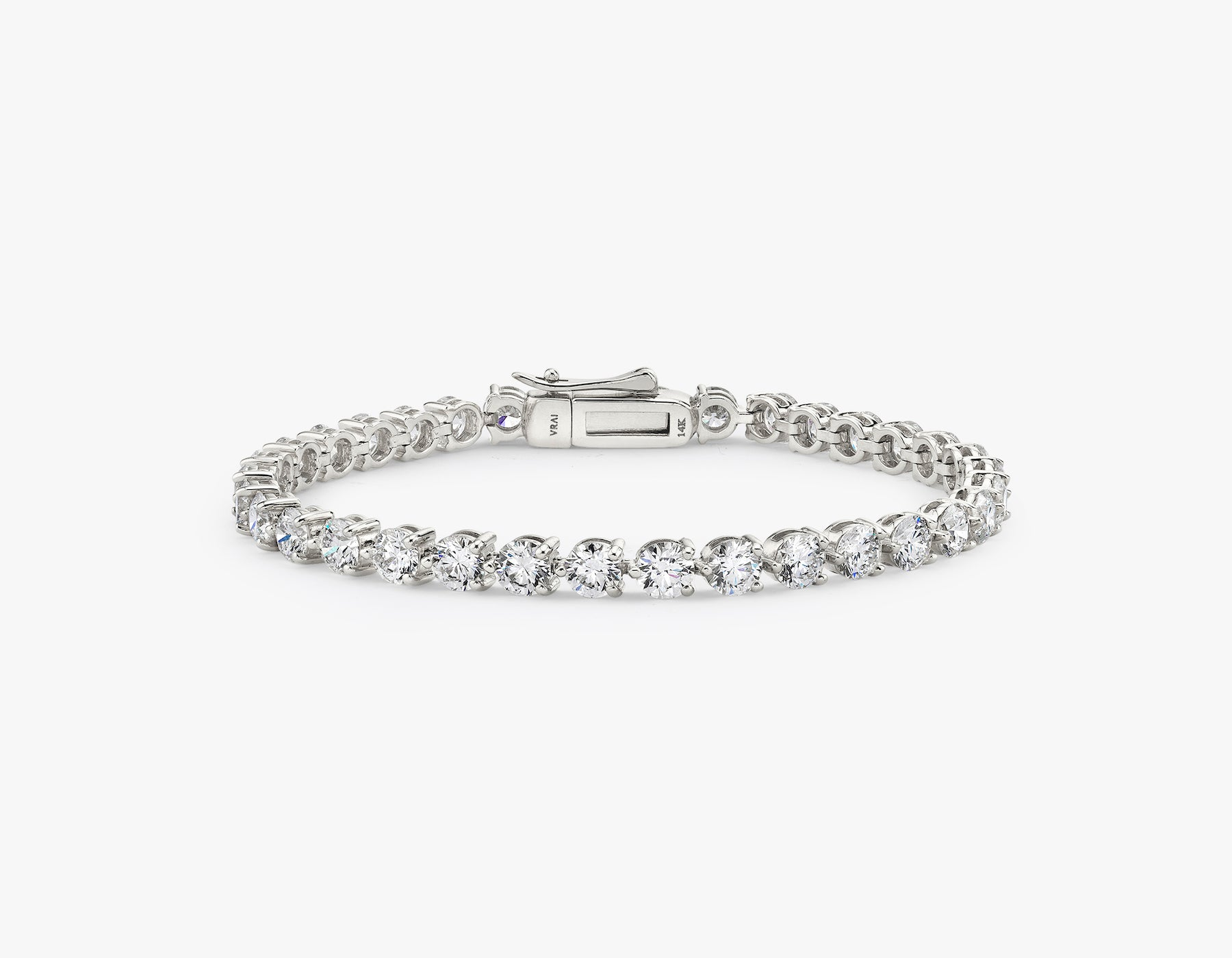 Vrai simple elegant Round Brilliant Diamond Tennis Bracelet with .25ct stone, 14K White Gold