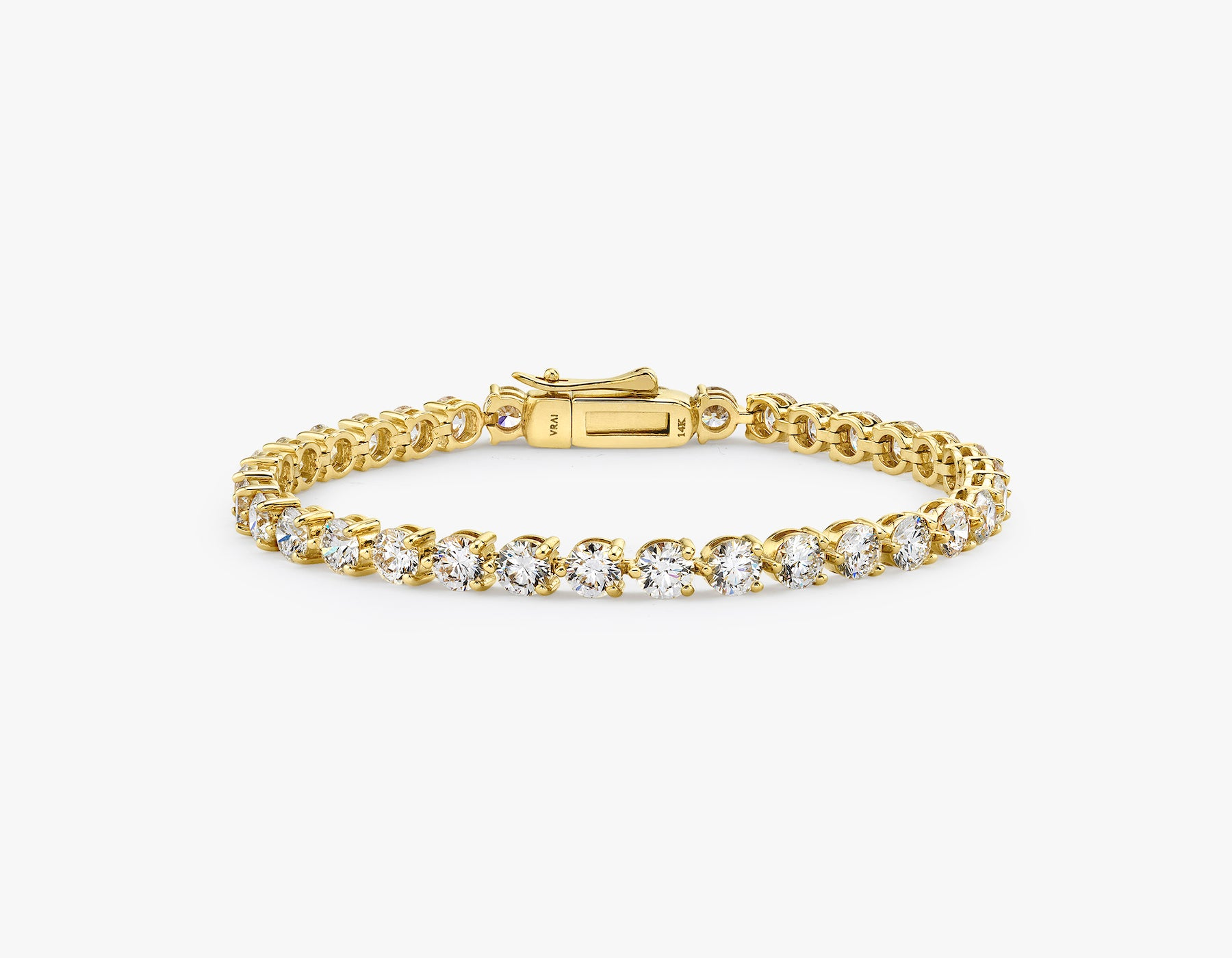 Vrai simple elegant Round Brilliant Diamond Tennis Bracelet with .25ct stone, 14K Yellow Gold