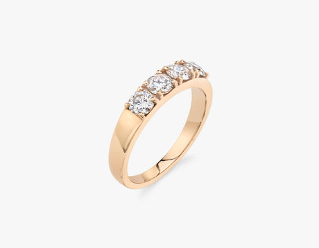 Vrai classic elegant Round Diamond Tetrad Band .25ct Round Brilliant Diamond Ring, 14K Rose Gold