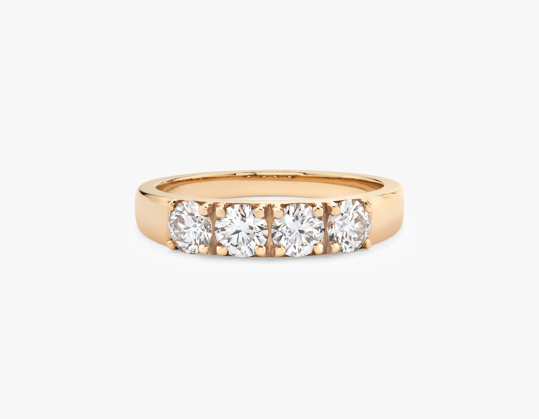 Vrai simple minimalist Round Diamond Tetrad Band .25ct Round Brilliant Diamond Ring, 14K Rose Gold