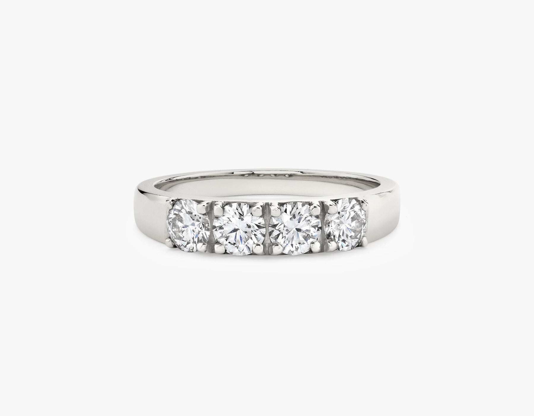 Vrai simple minimalist Round Diamond Tetrad Band .25ct Round Brilliant Diamond Ring, 14K White Gold