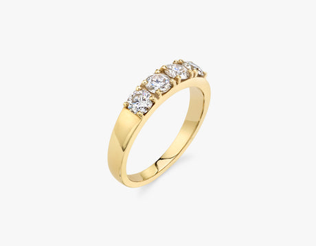 Vrai classic elegant Round Diamond Tetrad Band .25ct Round Brilliant Diamond Ring, 14K Yellow Gold