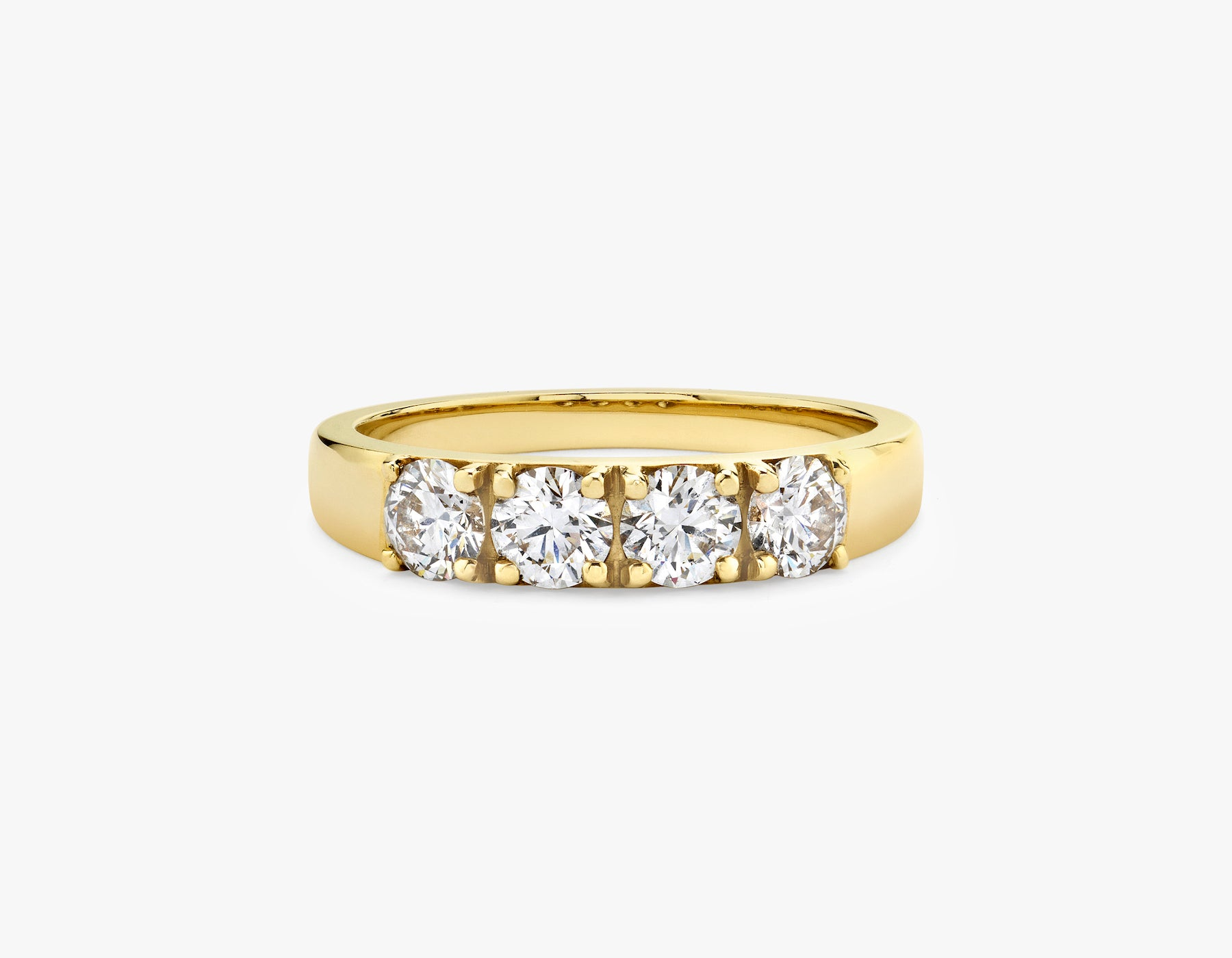 Vrai simple minimalist Round Diamond Tetrad Band .25ct Round Brilliant Diamond Ring, 14K Yellow Gold