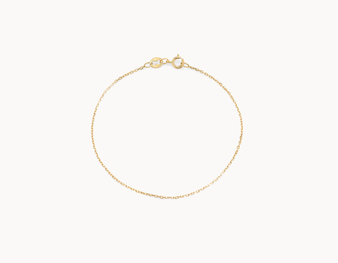 Delicate simple diamond cut Shimmer Chain Bracelet by Vrai, 14K Yellow Gold