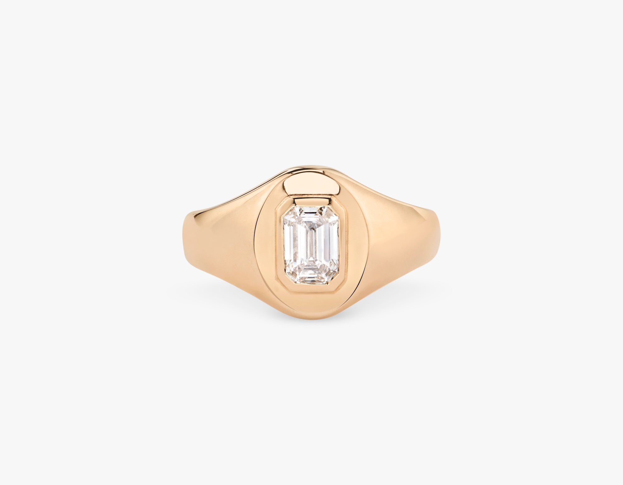 Vrai 14k solid gold classic simple Emerald Diamond Signet Ring, 14K Rose Gold