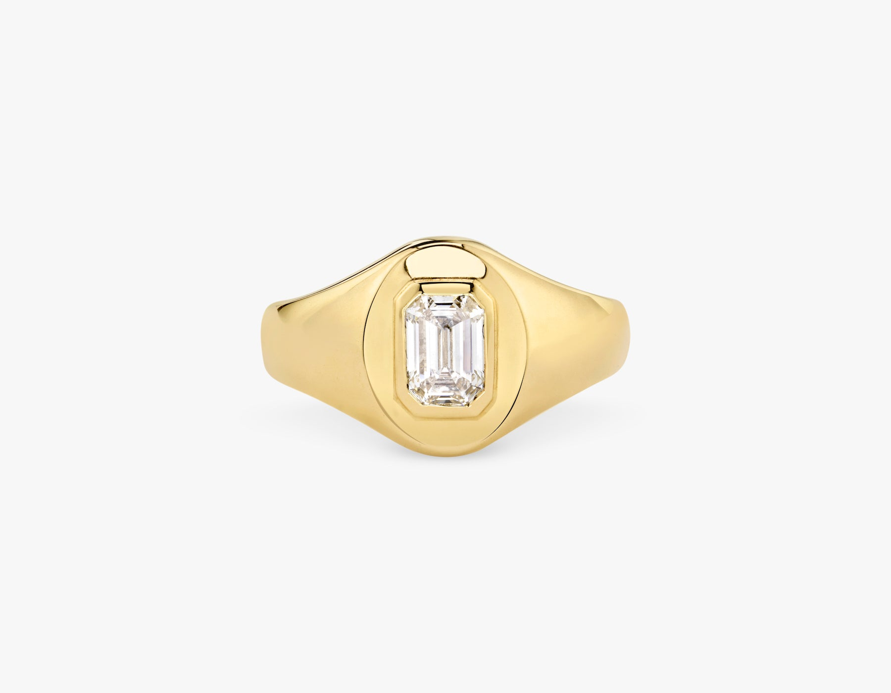 Vrai 14k solid gold classic simple Emerald Diamond Signet Ring, 14K Yellow Gold