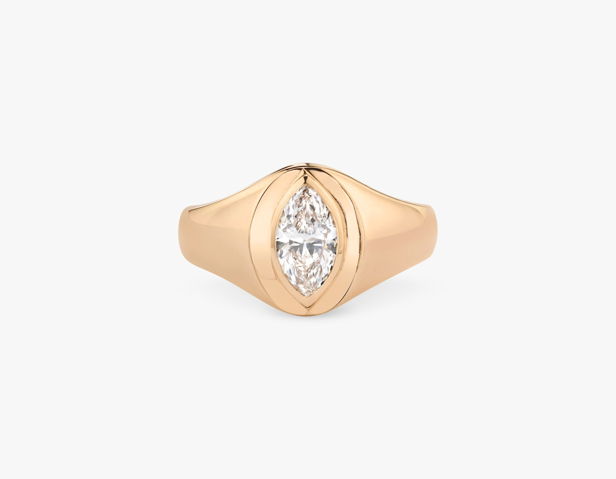 Vrai 14k solid gold classic simple Marquise Diamond Signet Ring, 14K Rose Gold