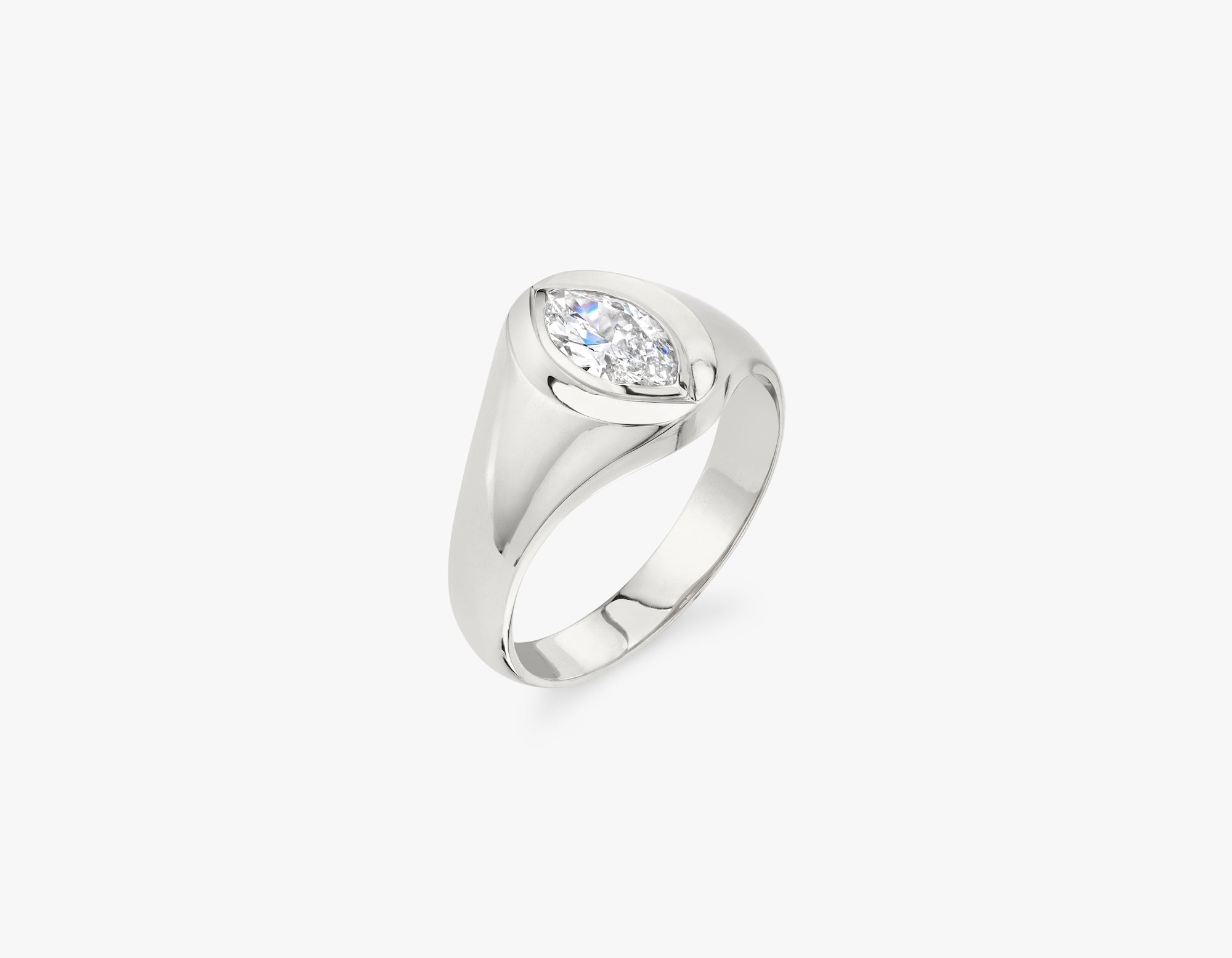 Vrai 14k solid gold classic minimalist Marquise Diamond Signet Ring, 14K White Gold