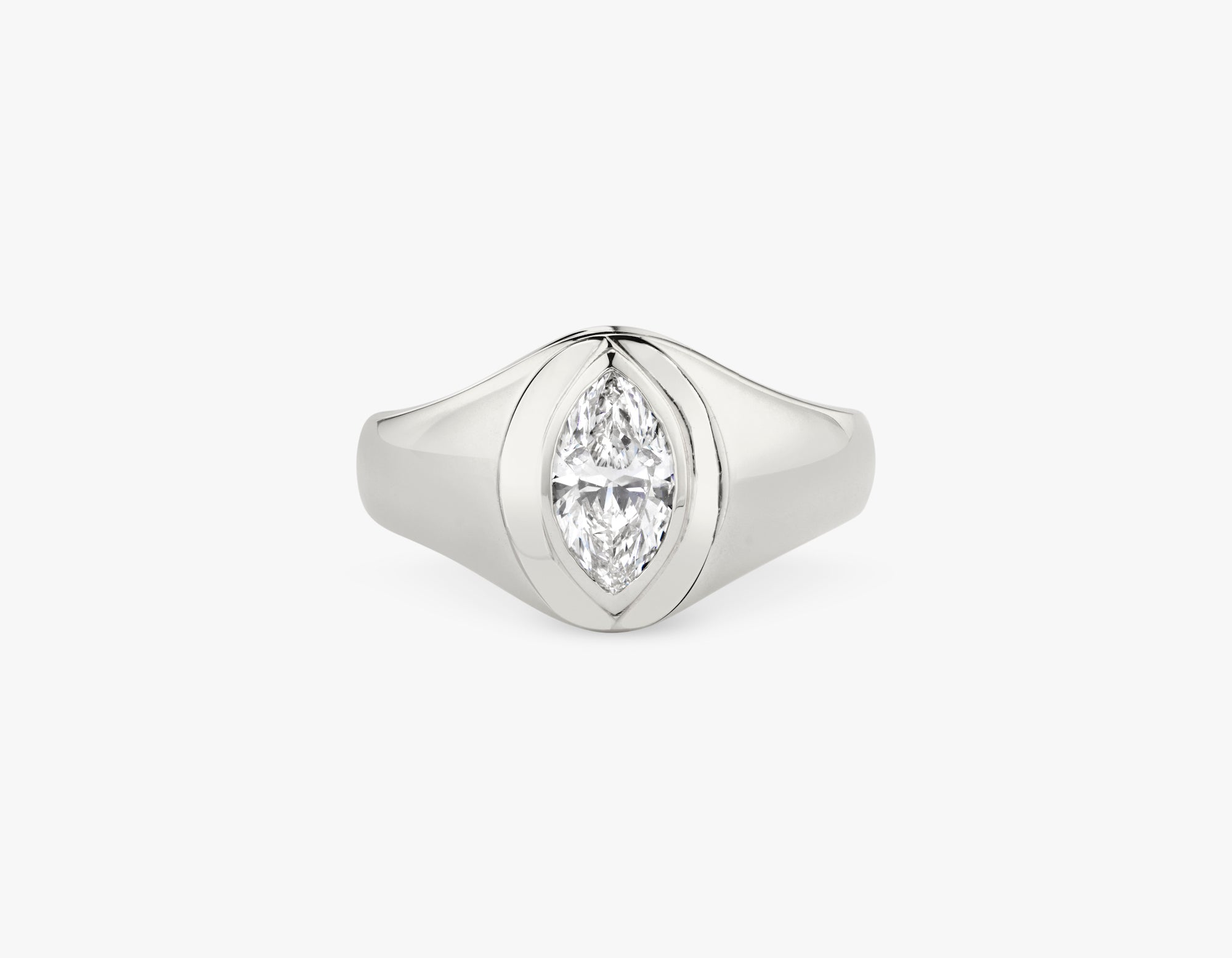 Vrai 14k solid gold classic simple Marquise Diamond Signet Ring, 14K White Gold