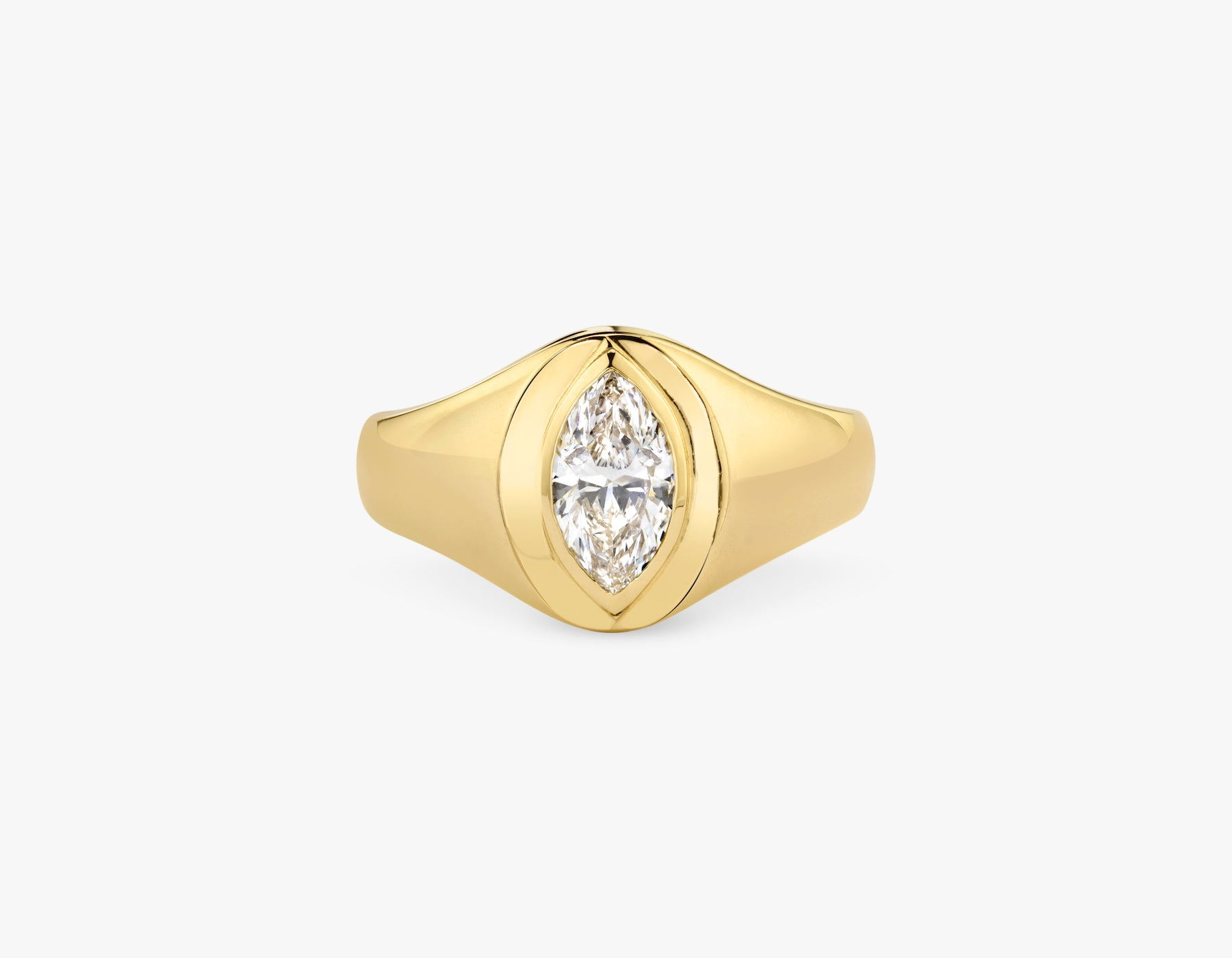 Vrai 14k solid gold classic simple Marquise Diamond Signet Ring, 14K Yellow Gold