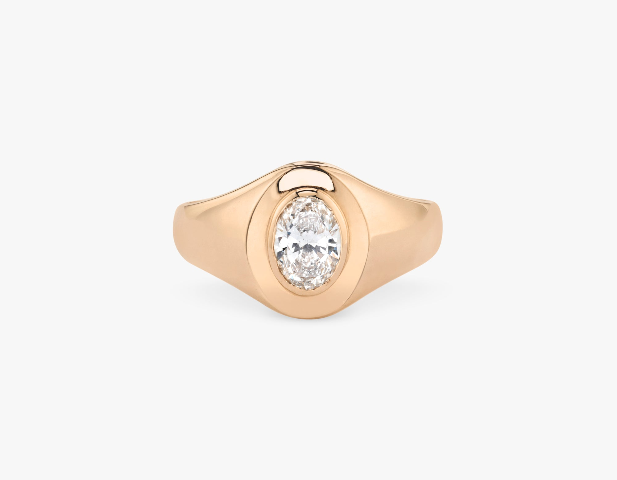 Vrai 14k solid gold classic simple Oval Diamond Signet Ring, 14K Rose Gold
