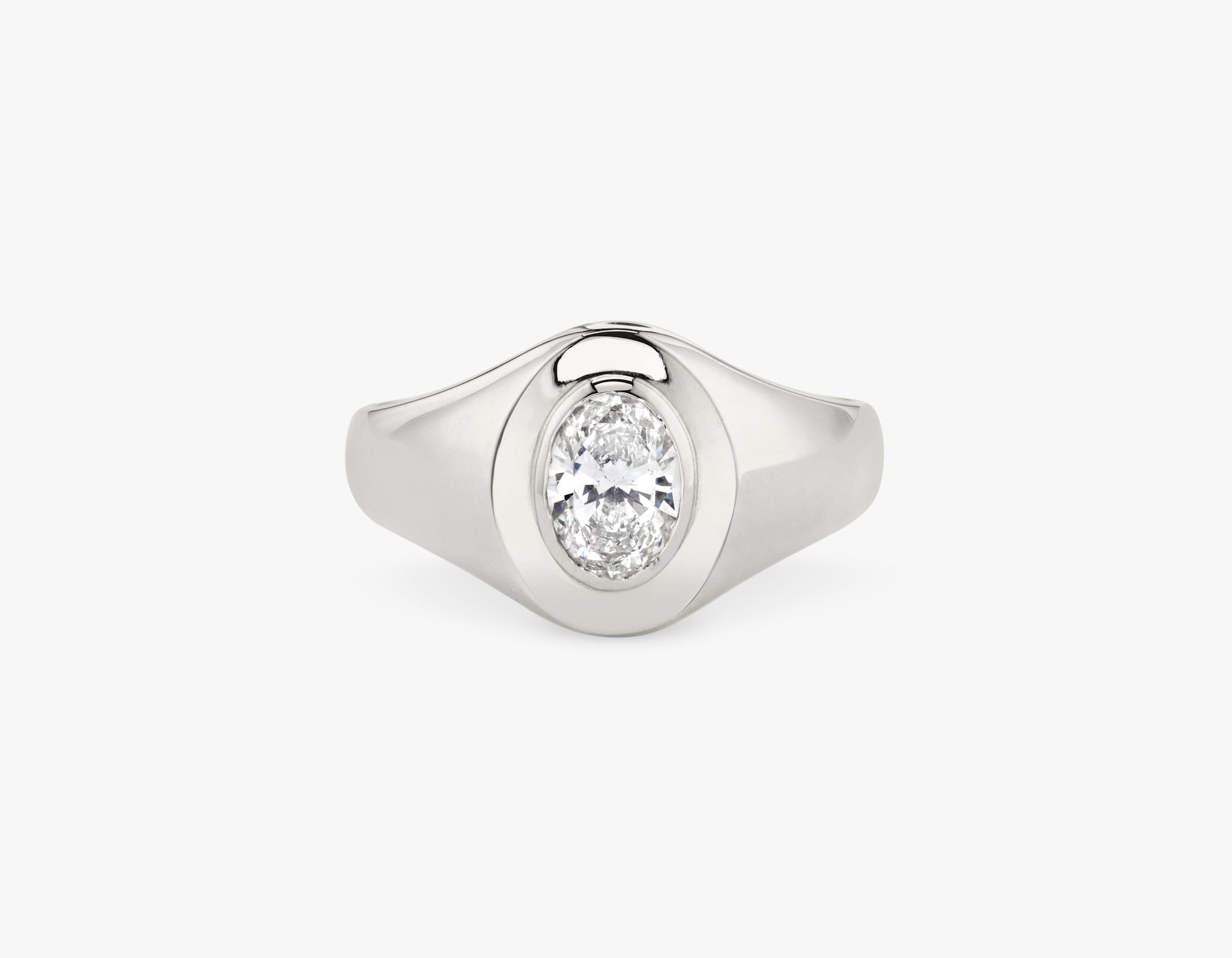 Vrai 14k solid gold classic simple Oval Diamond Signet Ring, 14K White Gold