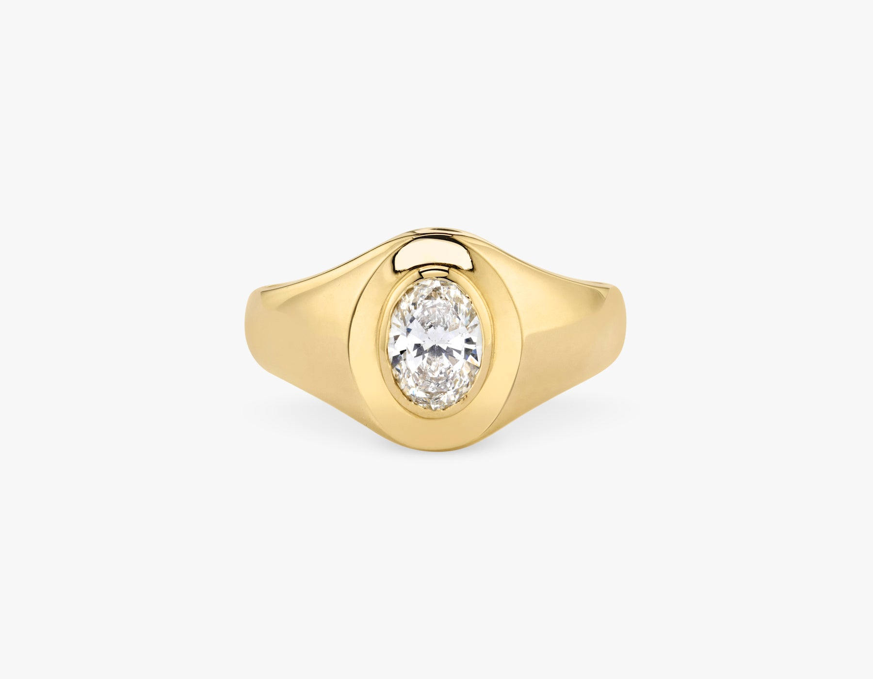 Vrai 14k solid gold classic simple Oval Diamond Signet Ring, 14K Yellow Gold