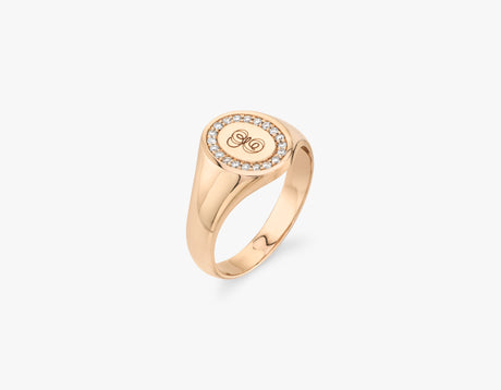 Vrai 14k solid gold classic minimalist engraved Pave Signet Ring, 14K Rose Gold