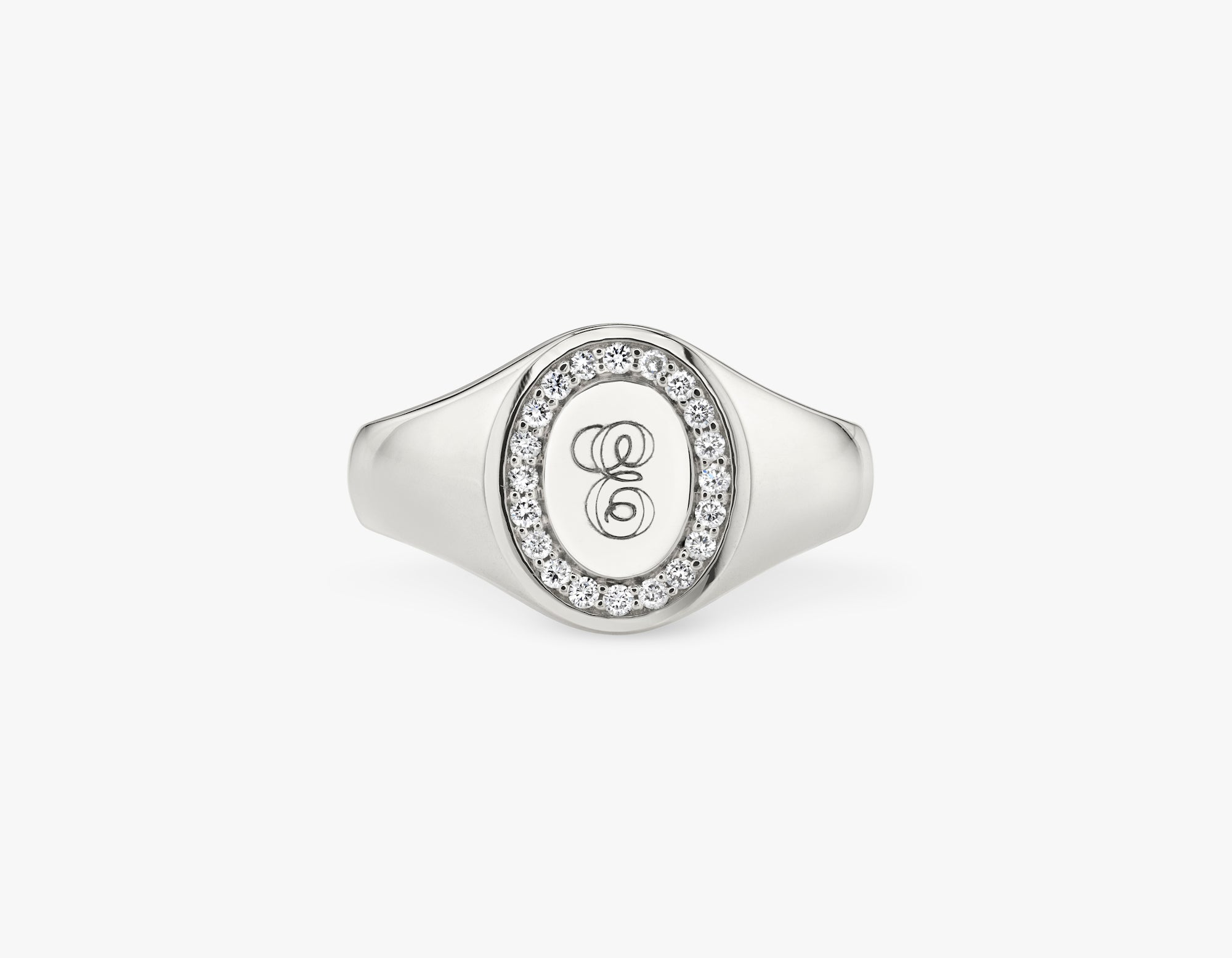 Vrai 14k solid gold classic customizable engraved Signet Ring, 14K White Gold
