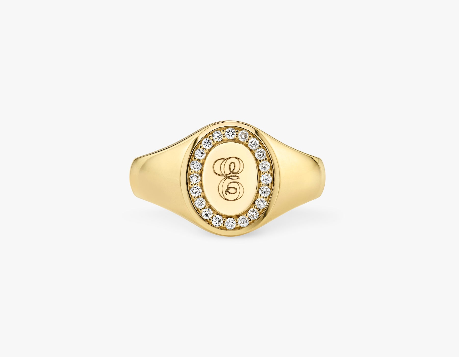 Vrai 14k solid gold classic customizable engraved Pave Signet Ring, 14K Yellow Gold