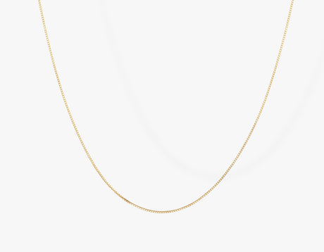 Vrai 14k solid gold Silk Box Chain necklace diamond cut chain simple minimal, 14K Yellow Gold