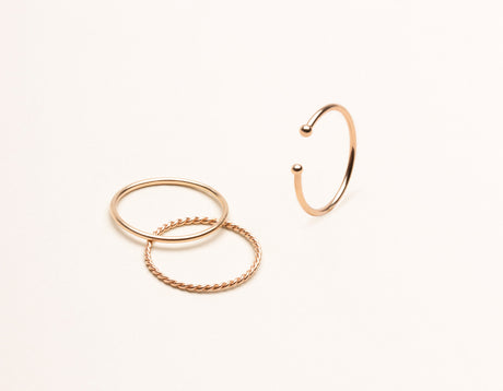vrai & Oro 14k solid gold modern minimalist simple stack rings, 14K Rose Gold