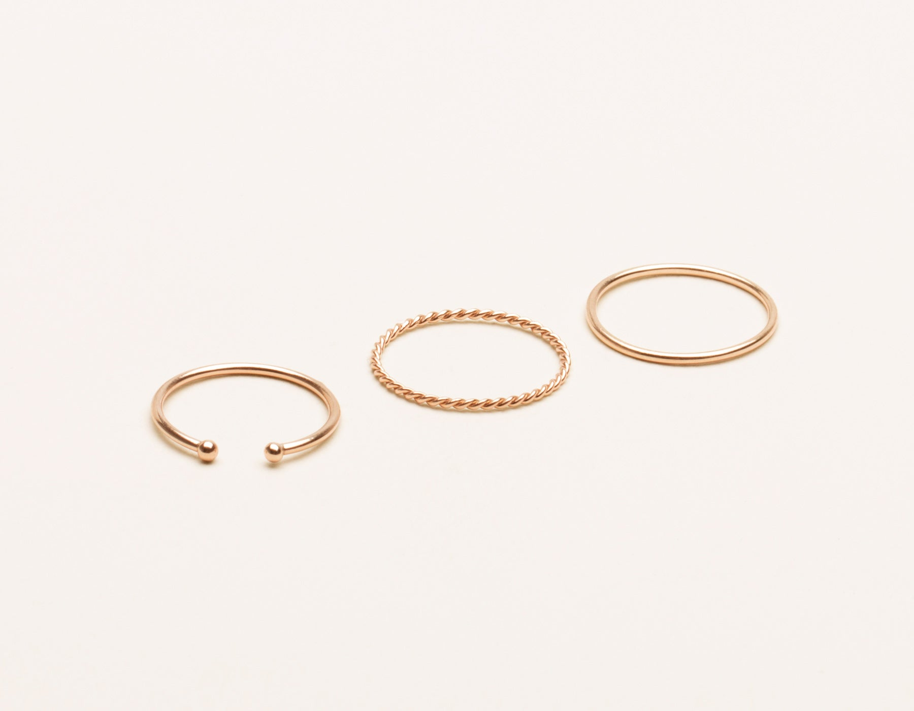 vrai and Oro delicate 14k solid gold classic simple stack skinny stacker twist ring dot cuff, 14K Rose Gold